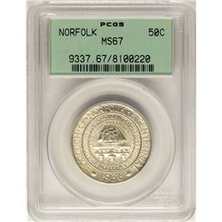 1936 Norfolk Bicentennial Commemorative Half Dollar Coin PCGS MS67 Old Green Hol