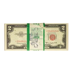 Original Pack of (100) 1953B $2 Legal Tender Notes Uncirculated - 1 Star Note