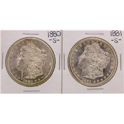 Lot 1880-S & 1881-S $1 Morgan Silver Dollar Coins
