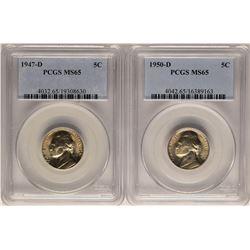 Lot of 1947-D & 1950-D Jefferson Nickel Coins PCGS MS65