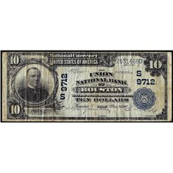1902 $10 Union NB of Houston, TX CH# 9712 National Currency Note