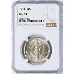 1941 Walking Liberty Half Dollar Coin NGC MS63