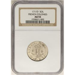 1711-D French Colonies 30 Deniers Colonial Coin NGC AU55