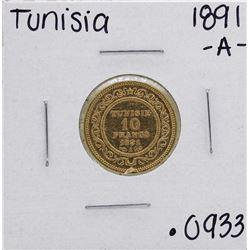 1891-A Tunisia 10 Francs Gold Coin