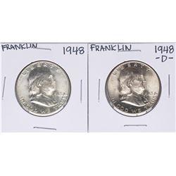 Lot of 1948 & 1948-D Franklin Half Dollar Coins