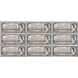 Lot of (9) Consecutive 1954 $100 Bank of Canada Notes