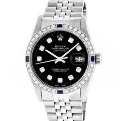 Rolex Mens Stainless Steel Slate Black Diamond & Sapphire Datejust Wristwatch