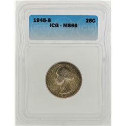 1945-S Washington Quarter Coin ICG MS66