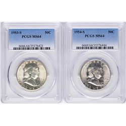 Lot of 1953-S & 1954-S Franklin Half Dollar Coins PCGS MS64