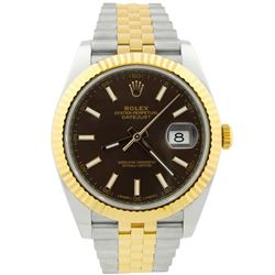 Rolex Mens Datejust 18KT Rose Gold & Steel 41mm Chocolate Dial Watch