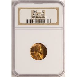 1941 Lincoln Wheat Cent Coin NGC MS67RD