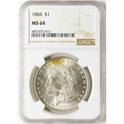 1884 $1 Morgan Silver Dollar Coin NGC MS64
