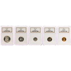 1952 (5) Coin Proof Set NGC Graded PF65/PF66