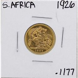 1926 South Africa Britain George 1/2 Sovereign Gold Coin