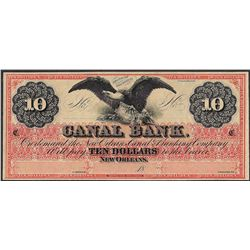 1800's $10 Canal Bank New Orleans Obsolete Note