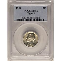 1942 Type 1 Jefferson Nickel Coin PCGS MS66