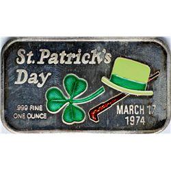 March 17, 1974 St. Patrick's Day Enamel Silver Art Bar