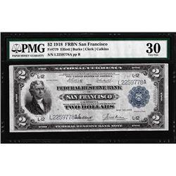 1918 $2 Battleship Federal Reserve Note San Francisco Fr.779 PMG Very Fine 30