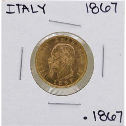 1867 Italy 20 Lire Umberto Gold Coin