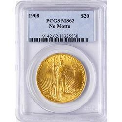 1908 No Motto $20 St. Gaudens Double Eagle Gold Coin PCGS MS62