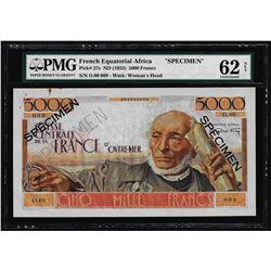 1952 French Equatorial Africa 5000 Francs Specimen Note Pick # 27s PMG Uncircula