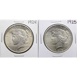 Lot of 1924-1925 $1 Peace Silver Dollar Coins