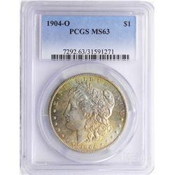1904-O $1 Morgan Silver Dollar Coin PCGS MS63 Amazing Toning