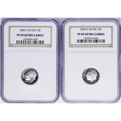 Lot of 2000-S & 2004-S Roosevelt Dime Proof Coins NGC PF69 Ultra Cameo
