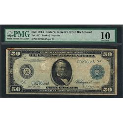 1914 $50 Federal Reserve Note Richmond Fr.1042 PMG Very Good 10
