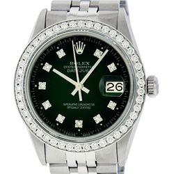 Rolex Mens Stainless Steel Slate Green Diamond 36MM Datejust Wristwatch
