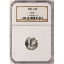 1946-S Roosevelt Dime Coin NGC MS67