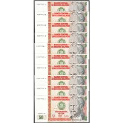 Lot of (10) 1987 Peru Cincuenta Intis Uncirculated Bank Notes