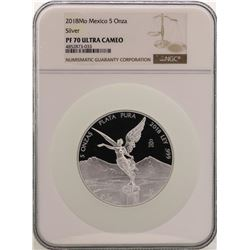2018Mo Mexico 5 Onza Libertad Silver Proof Coin NGC PF70 Ultra Cameo