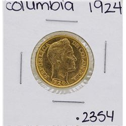 1924 Columbia Simon Bolivar 5 Pesos Gold Coin