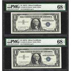 Lot of (2) Consecutive 1957A $1 Silver Certificate Notes PMG Superb Gem Unc. 68E