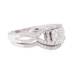 10KT White Gold 0.60 ctw Diamond Wedding Set