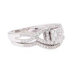 10KT White Gold 0.60 ctw Diamond Wedding Set