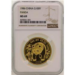 1986 China 100 Yuan Gold Panda Coin NGC MS69