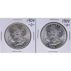 Lot of (2) 1904-O $1 Morgan Silver Dollar Coins