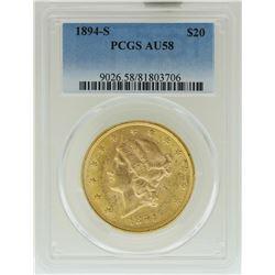 1894-S $20 Liberty Head Double Eagle Gold Coin PCGS AU58