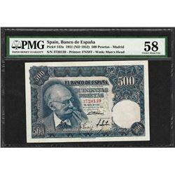 1951 Spain Banco de Espana 500 Pesetas Note Pick# 142a PMG Choice About Unc 58
