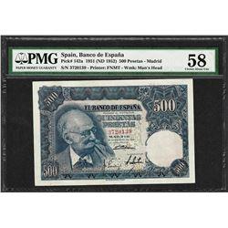 1951 Spain Banco de Espana 500 Pesetas Note Pick# 142a PMG Choice About Unc 58