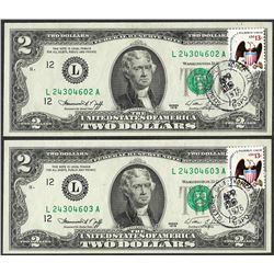 Lot of (2) Consecutive 1976 $2 Federal Reserve Notes First Day Issue with Stamps