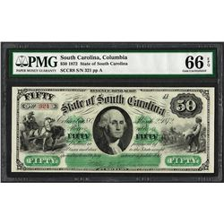 1872 $50 State of South Carolina Revenue Bond Obsolete Note PMG Gem Uncirculated