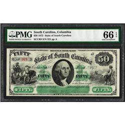1872 $50 State of South Carolina Revenue Bond Obsolete Note PMG Gem Uncirculated