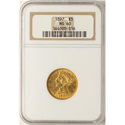 1897 $5 Liberty Head Half Eagle Gold Coin NGC MS60