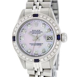 Rolex Ladies Stainless Steel Pink MOP Diamond & Sapphire 26MM Datejust Watch