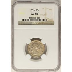 1910 Barber Liberty V Nickel Coin NGC AU58