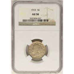 1910 Barber Liberty V Nickel Coin NGC AU58