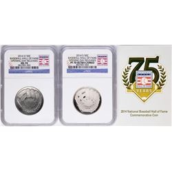 Opening Day 2014-D & 2014-S Baseball Hall of Fame Half Dollar Coins NGC MS70/PF7
